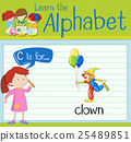 Flashcard letter C is for clown 25489851
