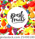 Fresh fruits. Vector background with juicy ripe 25490180