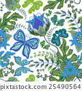 Seamless hand draw butterfly with floral pattern 25490564
