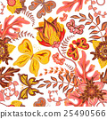 Seamless hand draw butterfly with floral pattern 25490566