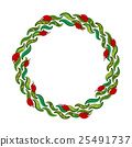 Hand drawn wreath with red flowers and green 25491737