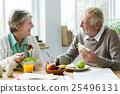 Pensioner Elderly Couple Eating Brunch Concept 25496131