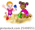 Cartoon Girls Building Sandcastles 25499551