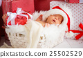 sleeper newborn baby in  Christmas Santa cap 25502529