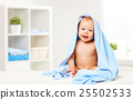 happy baby in a blue towel 25502533