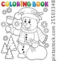 Coloring book snowman topic 3 25503348