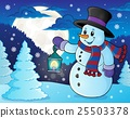 Snowman with lantern theme image 3 25503378