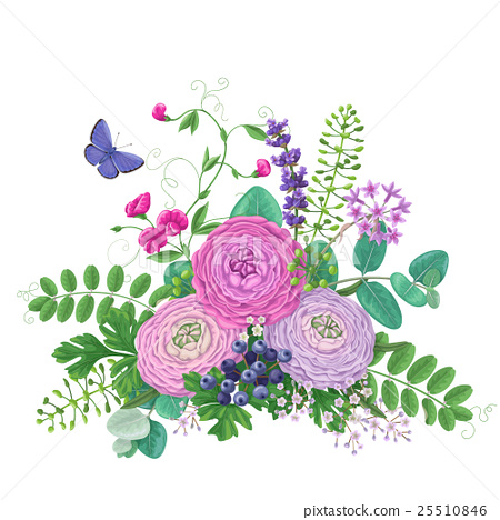 Bouquet of  flowers and flying butterfly 25510846
