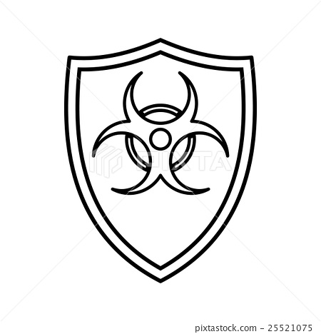 Shield With A Biohazard Sign Icon Outline Style Stock