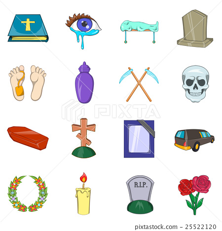 Funeral Icons set, cartoon style 25522120