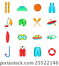 Water Sport Icons set, cartoon style 25522146