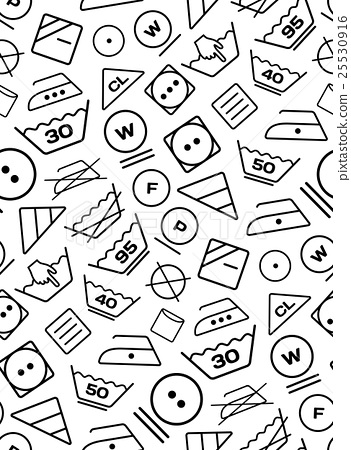 Pattern created from laundry washing symbols on a - Stock