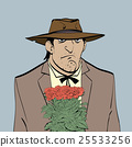 Retro male Hispanic with a bouquet of flowers 25533256