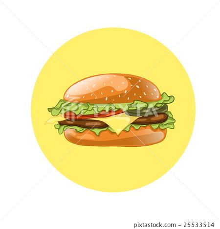 Burger. Cheeseburger vector illustration.Hamburger 25533514