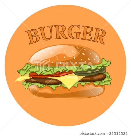 Burger. Cheeseburger vector illustration.Hamburger 25533522