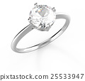 Wedding ring with diamond. 3D rendering 25533947