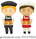 Two bakers with fresh baked bread 25537020