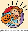 Girl scared Halloween evil pumpkin 25550686