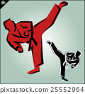 Martial arts. Karate fighters silquette high kick 25552964