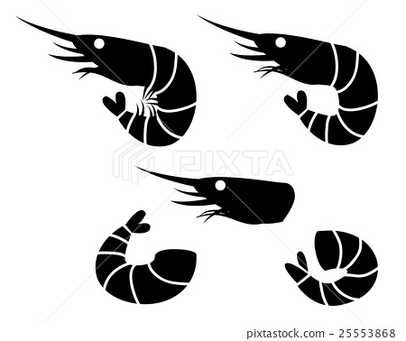 Shrimp and prawn icons, vector object 25553868