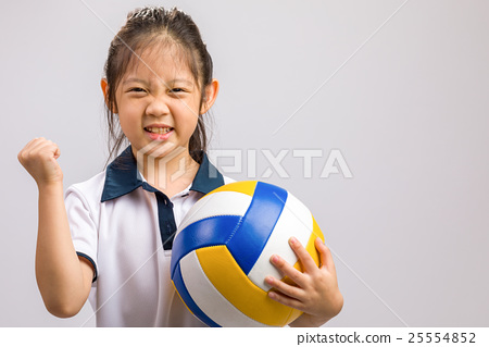 Child Holding Volleyball, Isolated on White 25554852