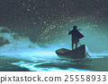 man rowing a boat in the sea under beautiful sky 25558933