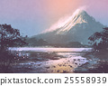 winter landscape with mountain lake 25558939