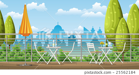 a balcony, a terrace with tables and chairs 25562184