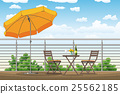 a balcony, a terrace with tables and chairs 25562185