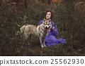 Girl with Husky dog. 25562930