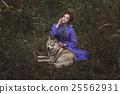 Fairy girl with a dog. 25562931
