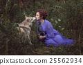 Dog licks the girl's face. 25562934