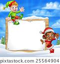 Christmas Elf Cartoon Characters Snow Sign 25564904