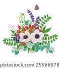 Bouquet of anemones  and flying butterfly 25566078