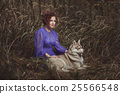 Brunette woman with a dog. 25566548