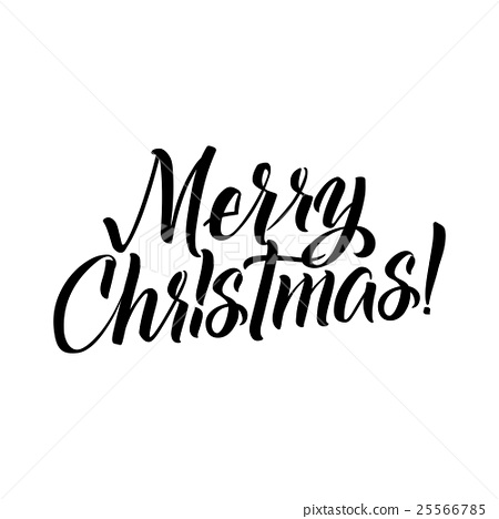 Merry Christmas Calligraphy. Greeting Card - Stock Illustration ...