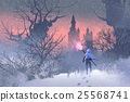 knight with trident in winter landscape 25568741