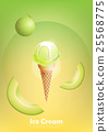 Cantaloupe melon ice cream cone, Pour milk syrup 25568775