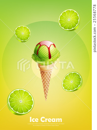Lime ice cream cone, Pour strawberry syrup 25568778