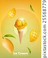 Mango ice cream cone, Pour mango syrup 25568779