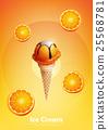 Orange ice cream cone, Pour chocolate syrup 25568781