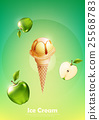 Green apple ice cream cone, Pour apple syrup 25568783