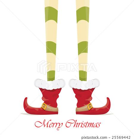 Christmas Cartoon Elfs Legs On White Background Stock Illustration 25569442 Pixta