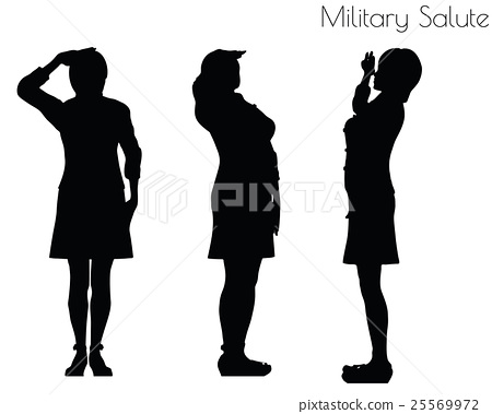 woman in salute pose on white background 25569972