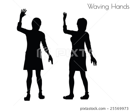 woman in Waving Hands pose on white background 25569973