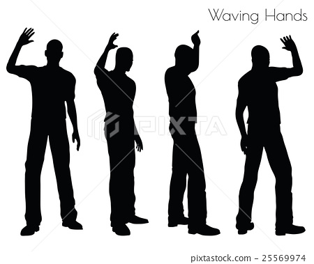 man in Waving Hands pose on white background 25569974