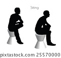 man in Sitting Squatting  pose on white background 25570000
