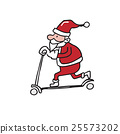 Santa playing scooter cartoon drawing 25573202