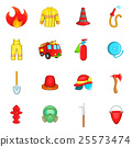 Fireman icons set, cartoon style 25573474