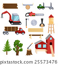 Timber industry icons set, cartoon style 25573476